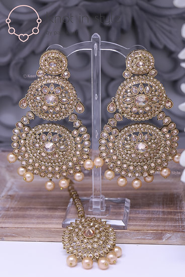 Polki earrings/tikka set