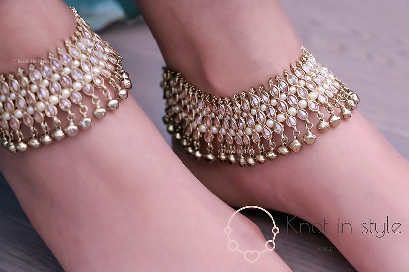 Polki three line anklets