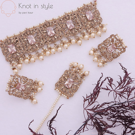 Polki choker set with studs/tikka set