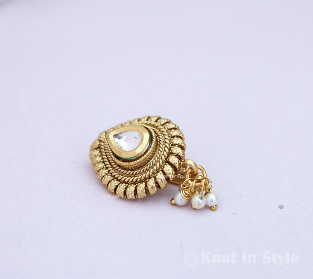 Kundan clip on nose ring (small)