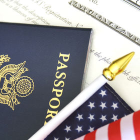 Immigration concept, US passport and fla