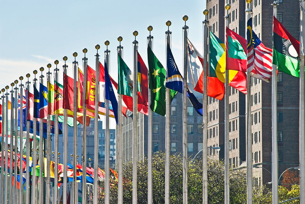 Flags of all nations outside the UN in N