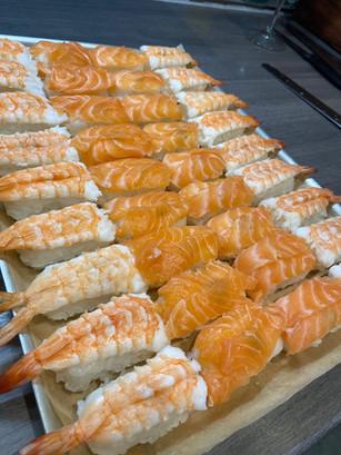 chef andy b - nigeri salmon and prawn