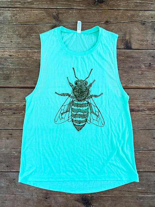 Mint Green Bee Women's Muscle Tank