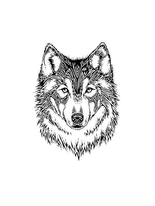 "Wolf Face Print 11x14"""