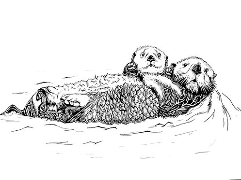 "Otters Print 11x14"""