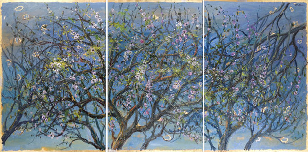 Triptych: Grove of Blossoming Almond Trees