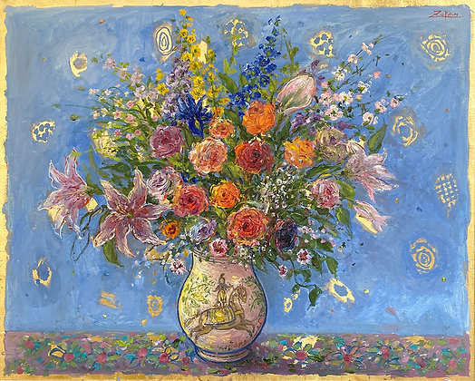 Bruno Zupan - Grand Bouquet on Blue Ground