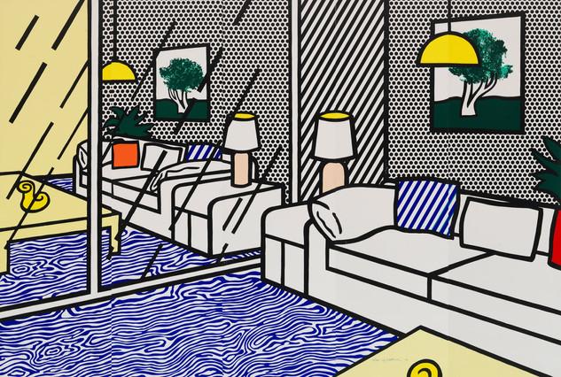 """Roy Lichtenstein, """"Wallpaper with Blue Floor Interior"""""""
