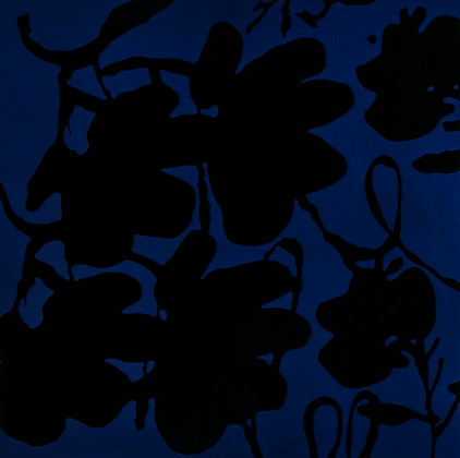 Donald Sultan - LANTERN FLOWERS, BLACK AND BLUE, OCT 4, 2017