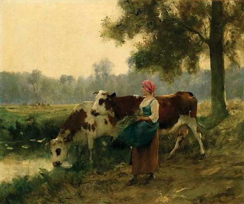 Julien Dupré - Boisé Paysage avec Deux Vaches au Bord  de I'eau Á une Jeune Fill