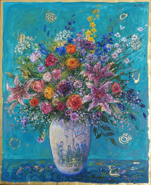 Bouquet on Turquoise Ground
