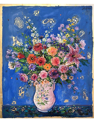 Bruno Zupan - White Pitcher with Flowers on Royal Blue Ground