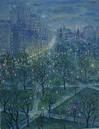 Bruno Zupan - View of Skyline and Boston Public Garden at Twilight