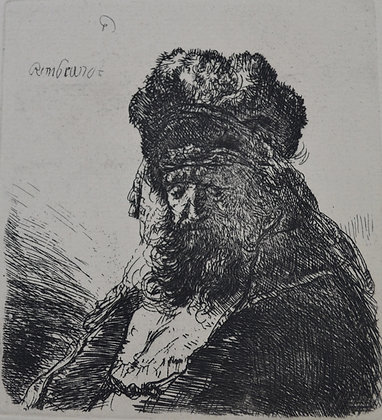 Rembrandt Harmensz Van Rijn - Old Bearded Man in a High Fur Cap with Eyes Closed