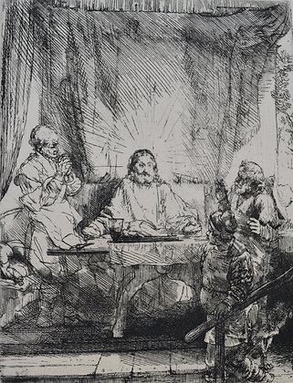 Rembrandt Harmensz Van Rijn - Christ at Emmaus: The Larger Plate