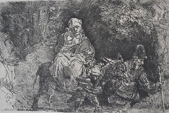 Rembrandt Harmensz Van Rijn - The Flight into Egypt: Crossing a Brook