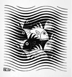 Maurits Cornelis Escher - Fish and Waves