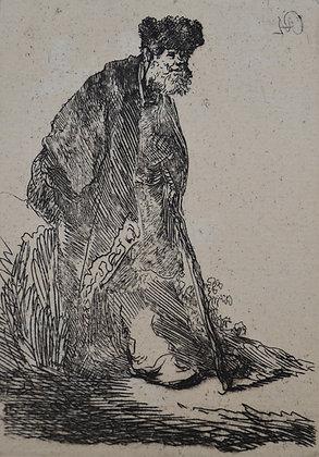 Rembrandt Harmensz Van Rijn - Man in a Coat and Fur Cap Leaning Against a Bank