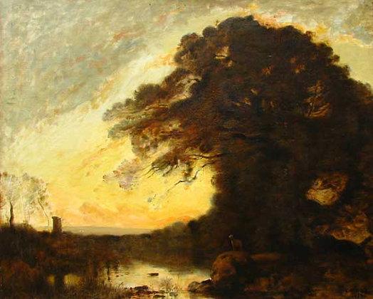 Jean Baptiste Camille Corot - Souvenir d'Italie, Soleil Couchant