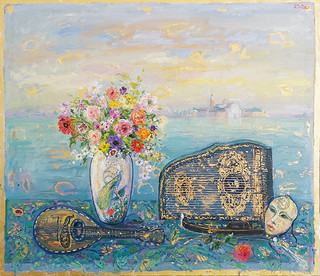 Window in Venice with Bouquet and Antique Objects