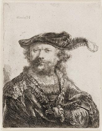 Rembrandt Harmensz Van Rijn - Self-Portrait in a Velvet Cap with Plume