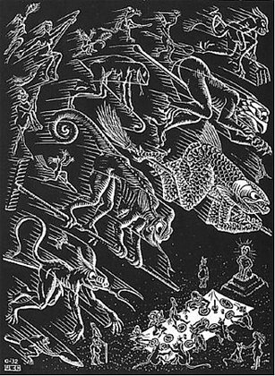 Maurits Cornelis Escher - Flying Demons from Scholastica Series