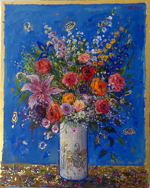 Bouquet on Royal Blue Ground