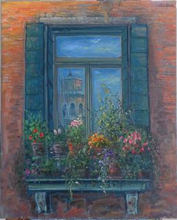 Towers of Frari reflected in Venetian Window