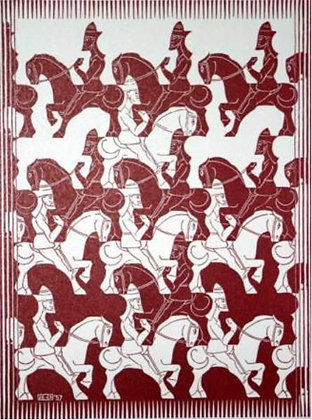 Maurits Cornelis Escher - Horsemen from Regular Division of the Plane