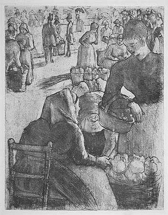Camille Pissarro - Le Marché Aux Legumes à Pontoise (Produce Market at Pontoise)