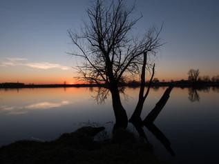 Eiland van Maurik bij zonsondergang