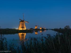 Prachtig schouwspel verlichte molens Kinderdijk