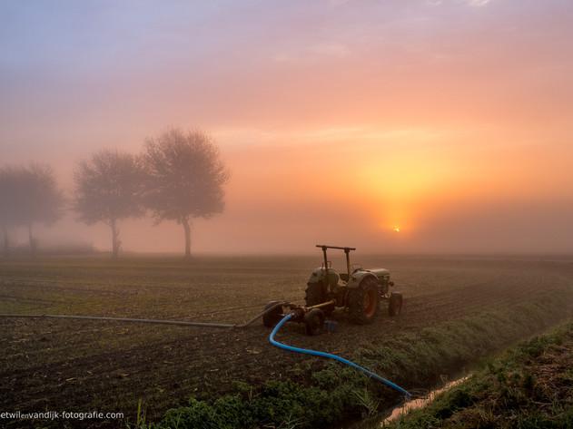 Tractor pompt water uit de sloot tijdens mistige zonsopkomst