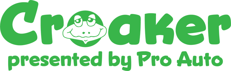 An image of a toad appear in the word Croaker, followed by presented by Pro Auto.