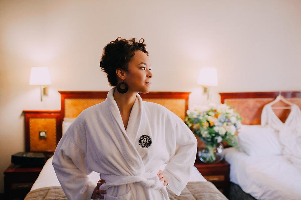 bride in bathrobe