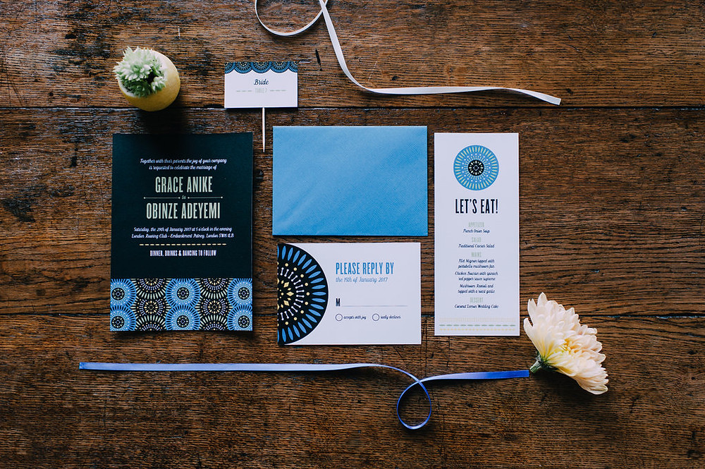 English-African fusion style wedding invitations