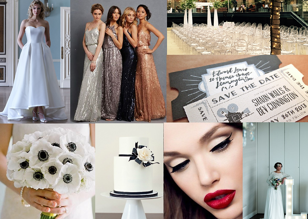 Hollywood glam inspired wedding style board