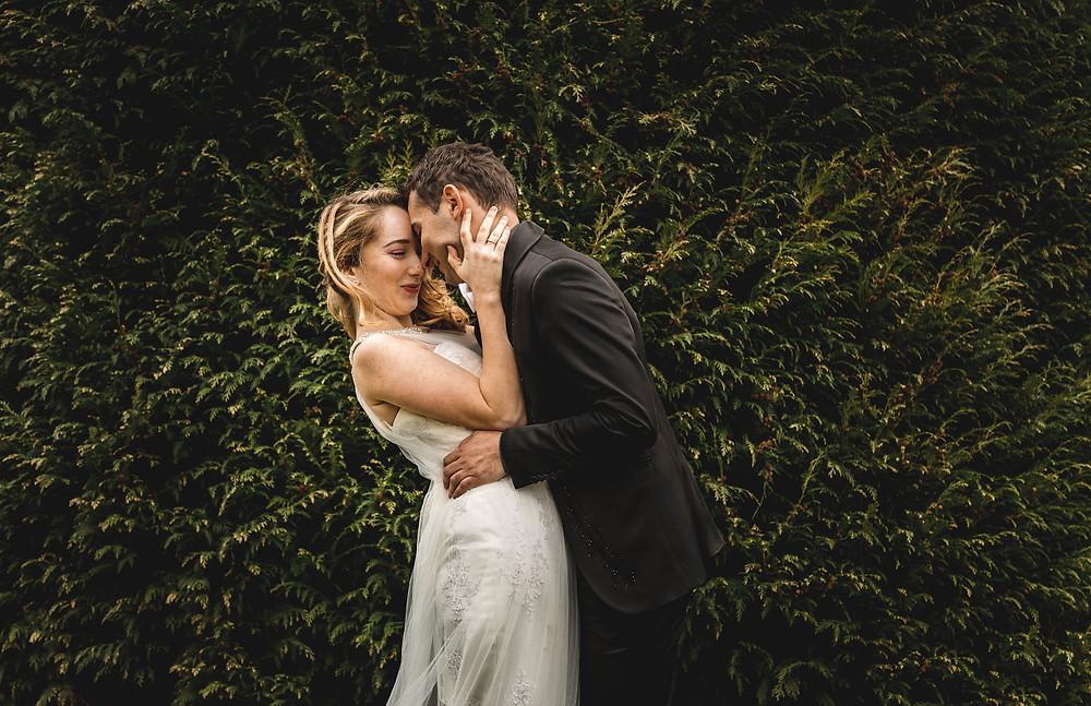 Flirty playful bride and groom