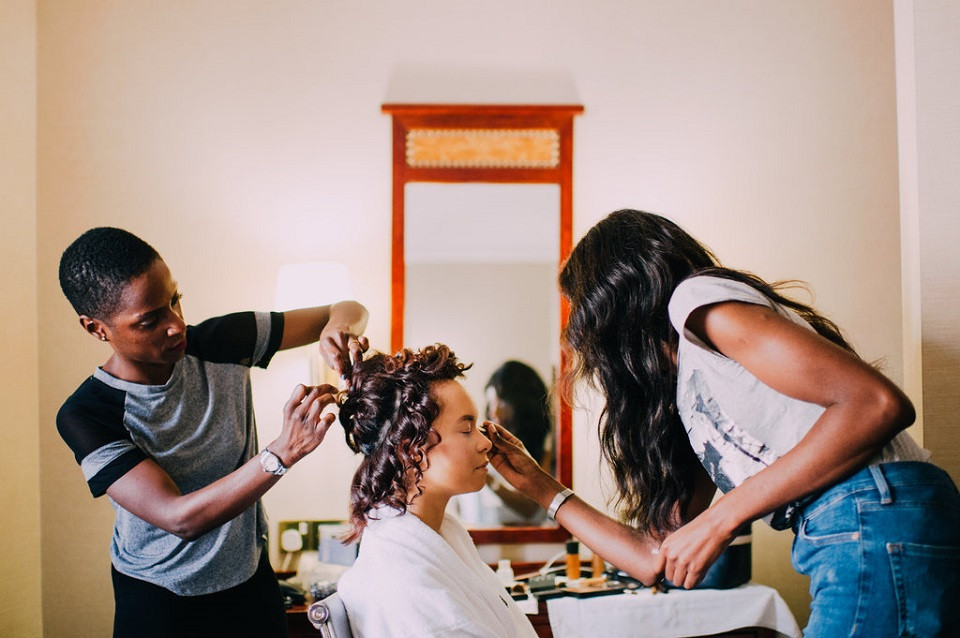Bride getting styled