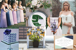 Geometric and lavender wedding style board