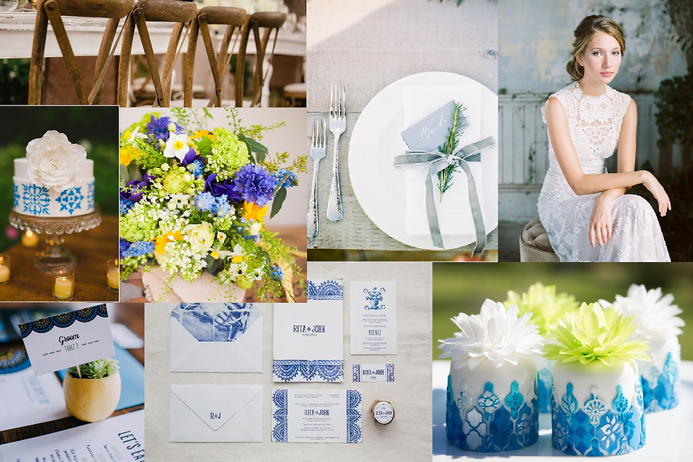 Portugual inspired wedding style board