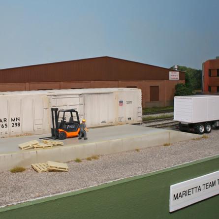 Marietta Team Track with a scratch built cement loading ramp.