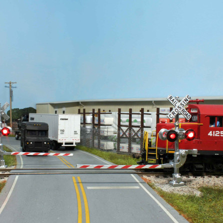Sawyer Road with automatic grade crossing signals.