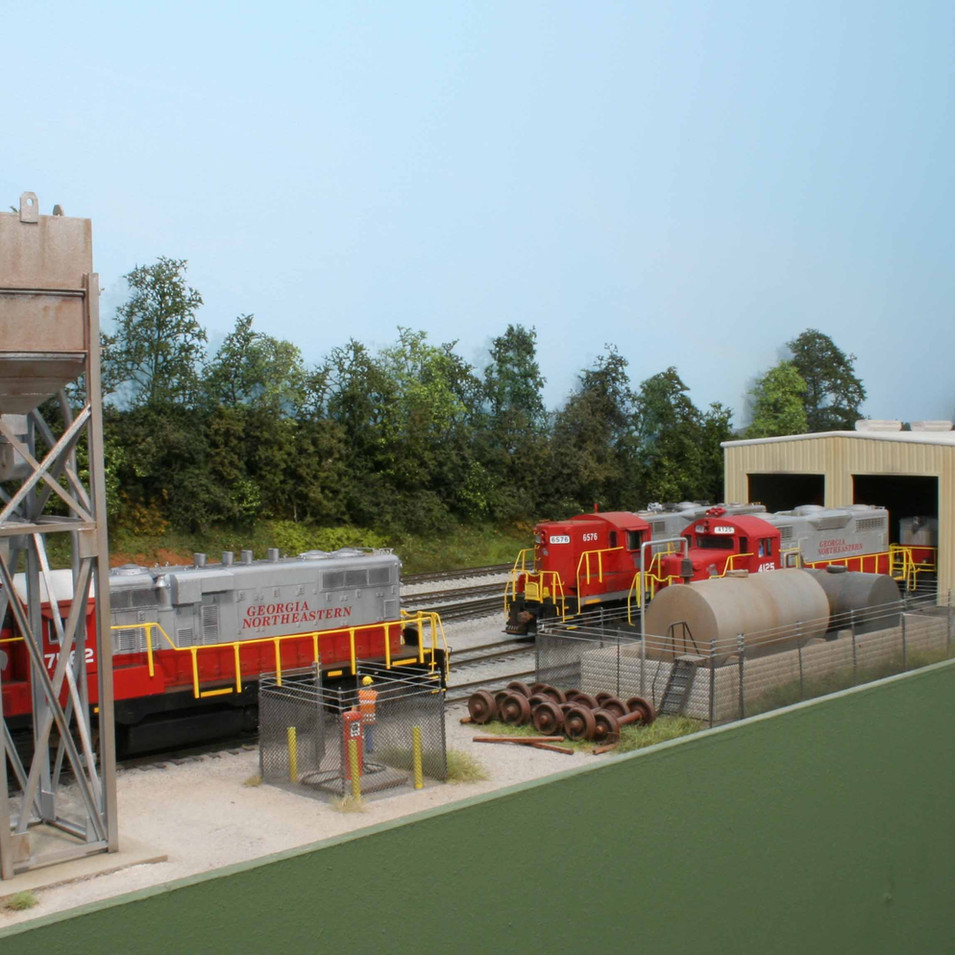 GNRR Locomotive Service facility in Tate, GA. This compact facility provides service for the GNRR fleet of EMD locomotives.
