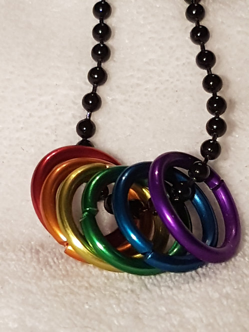 Rainbow necklace with Freedom Rings