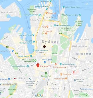 City of Sydney Map showing Smart Stone technology location