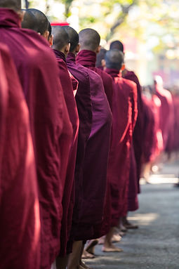 Buddhist Monks Queuing for Meal