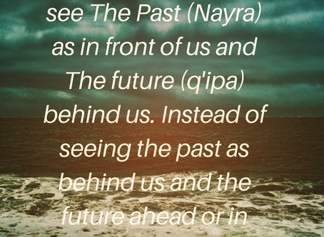 """""""The Past is in front of us and the future is behind us"""""""