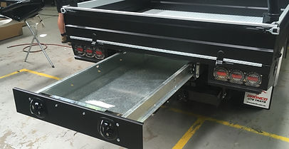 powder coated black with black on chrome latches Bronco ute trays